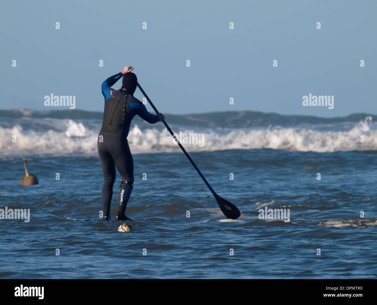 Stand up paddle boarder heading towards the waves, Bude, Cornwall, UK - Stock Image