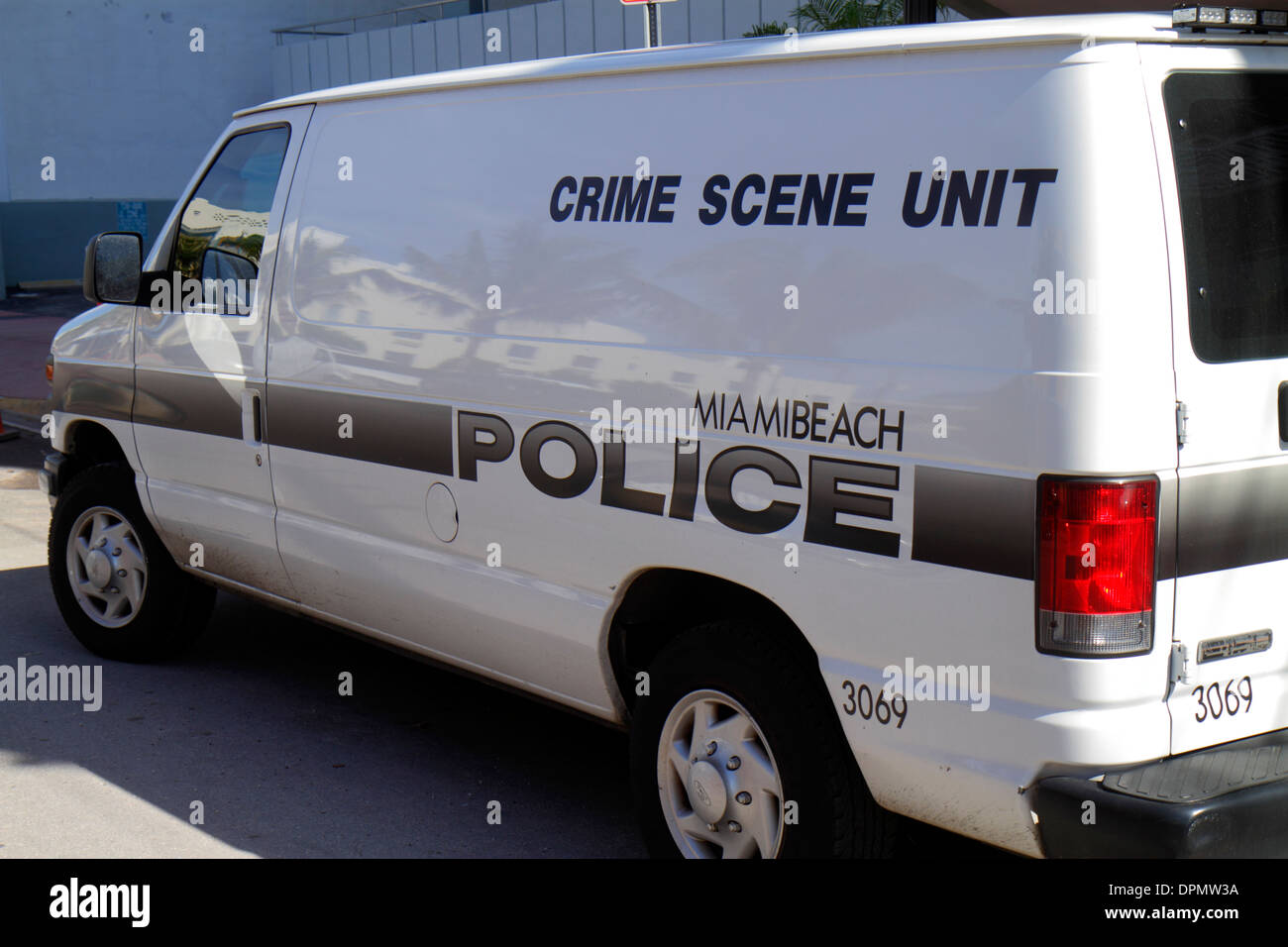Miami Beach Florida Police Crime Scene Unit van vehicle crime - Stock Image