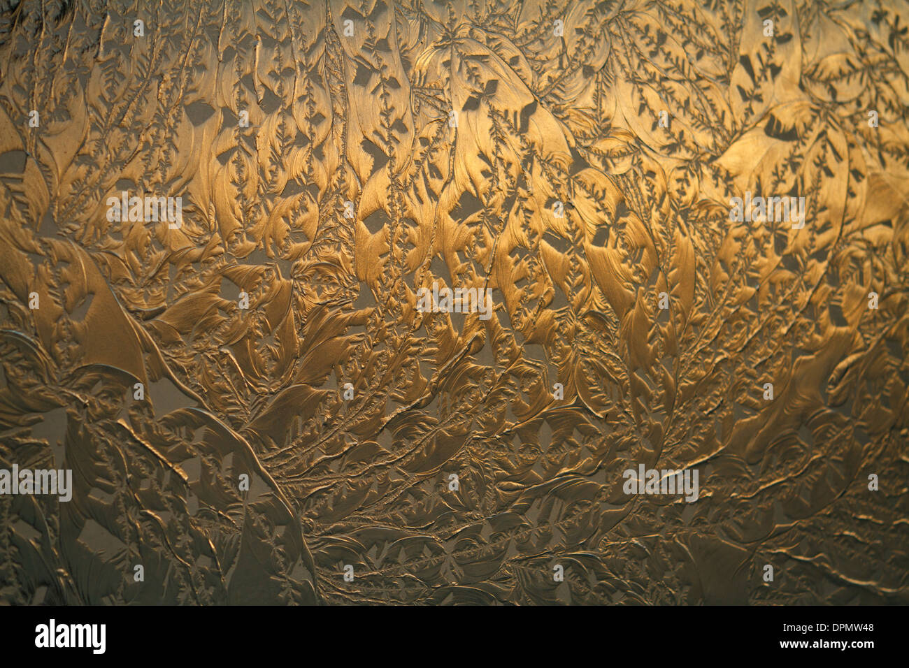 Close up of glass facade panel with relief of frost effect. Stock Photo