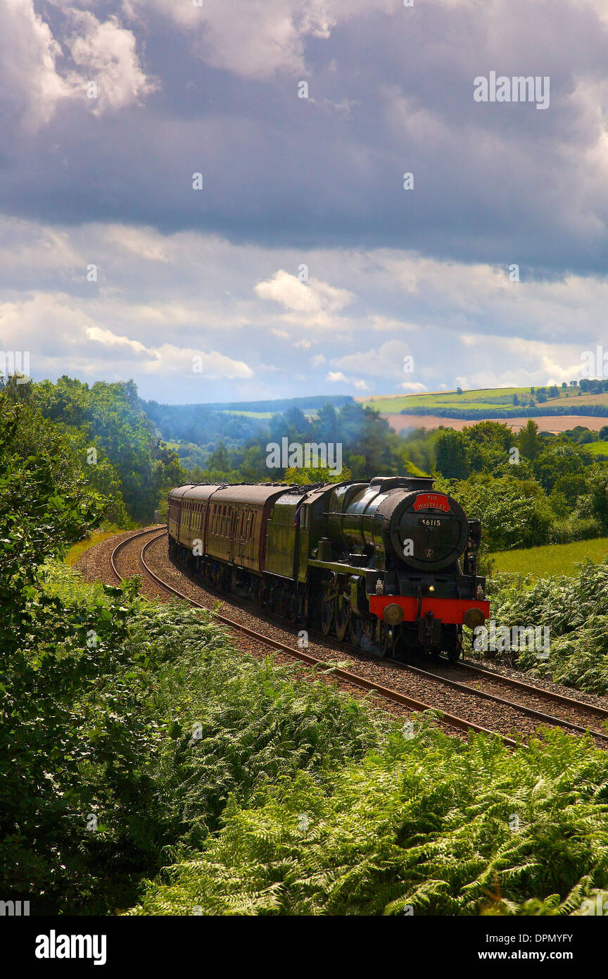 Steam train 46115 Scots Guardsman near Lowhouse Crossing on the Settle to Carlisle Railway Line in Cumbria England UK - Stock Image