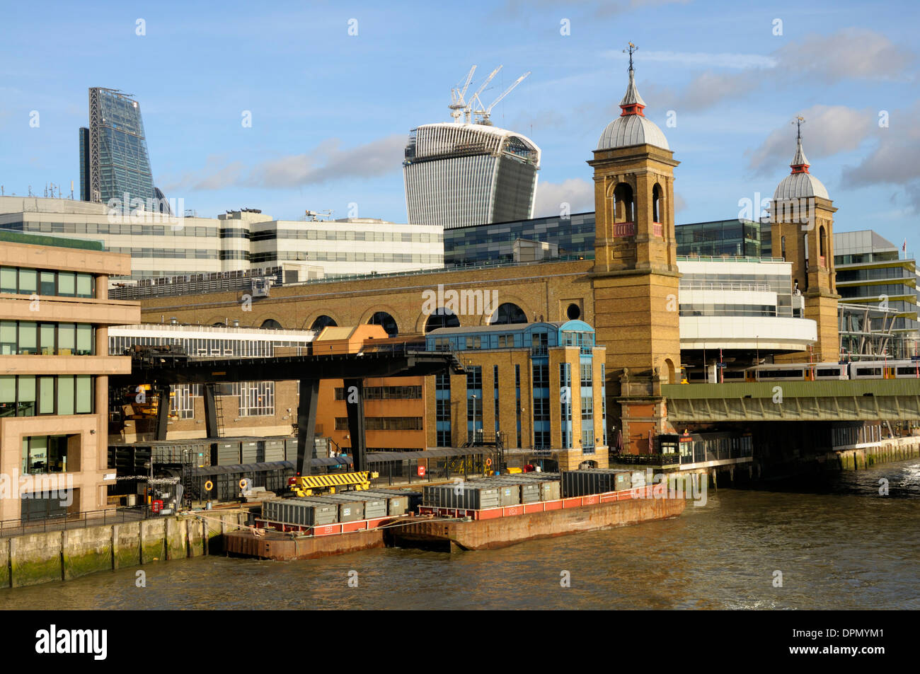 London, England, UK. Cannon Street Station and Railway Bridge over the River Thames - Stock Image