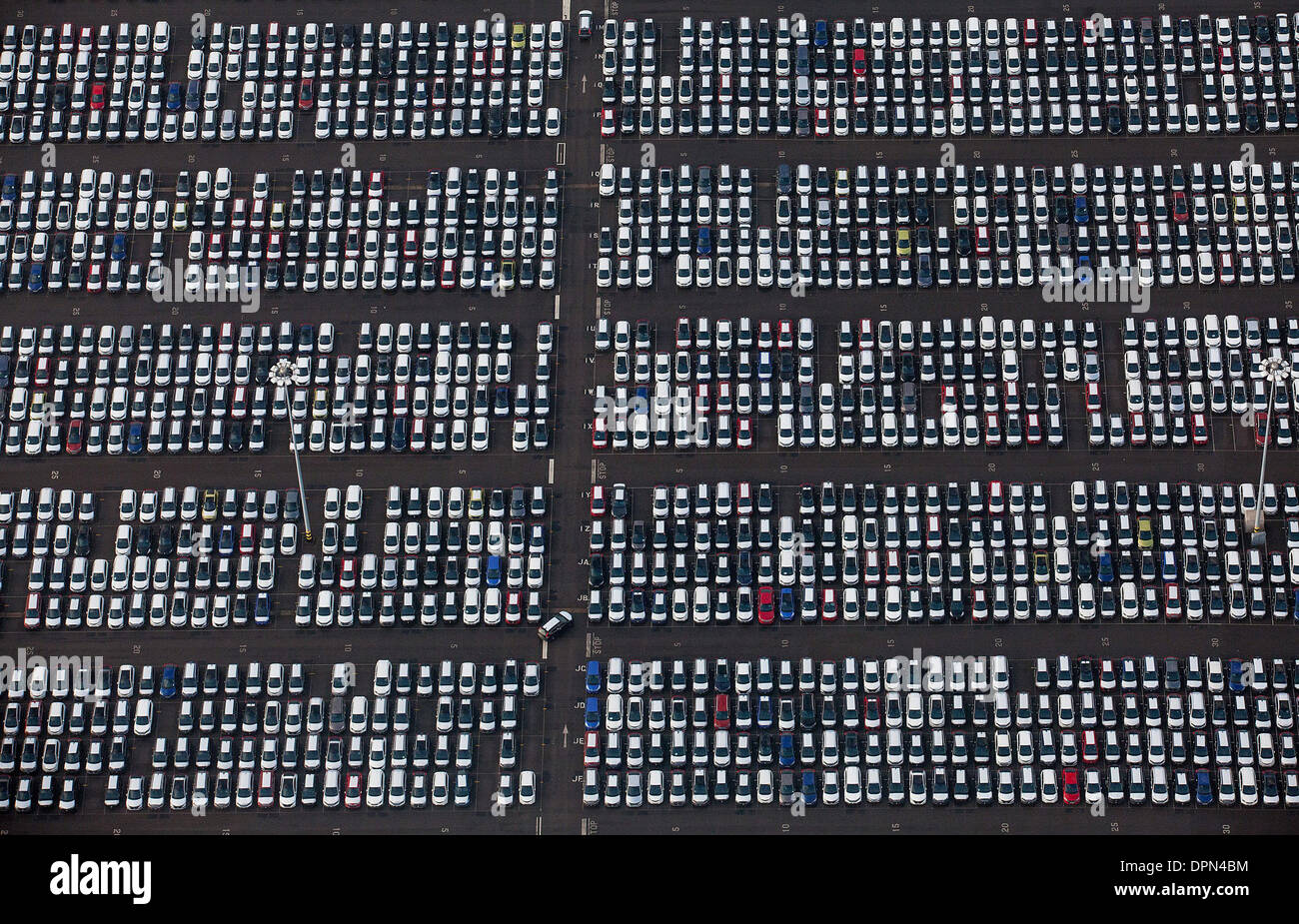 Cars in Avonmouth as viewed from the air. 9th January 2014. - Stock Image