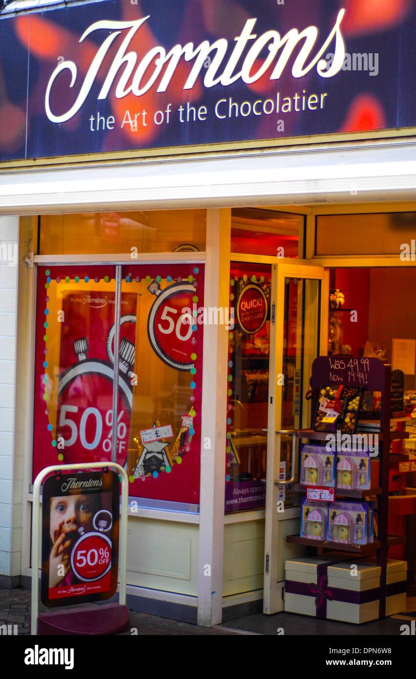 Thorntons chocolate store front Northampton - Stock Image