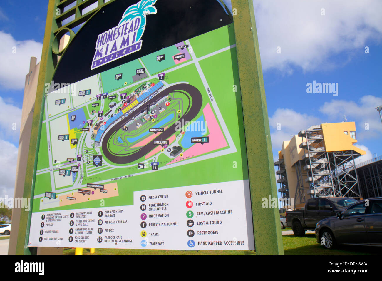 Map Of Homestead Florida.Miami Homestead Florida Speedway Sign Map Information Stock Photo