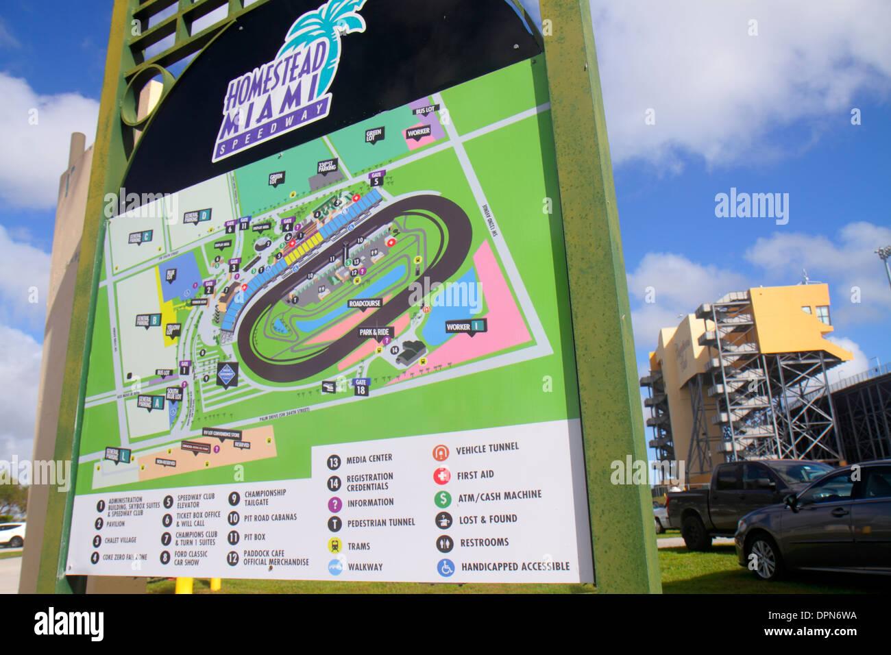 Map Homestead Florida.Miami Homestead Florida Speedway Sign Map Information Stock Photo