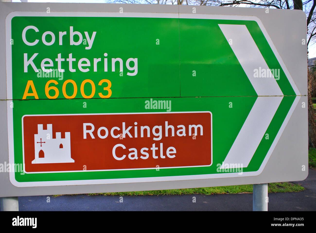 Corby Kettering street sign Rockingham Castle - Stock Image