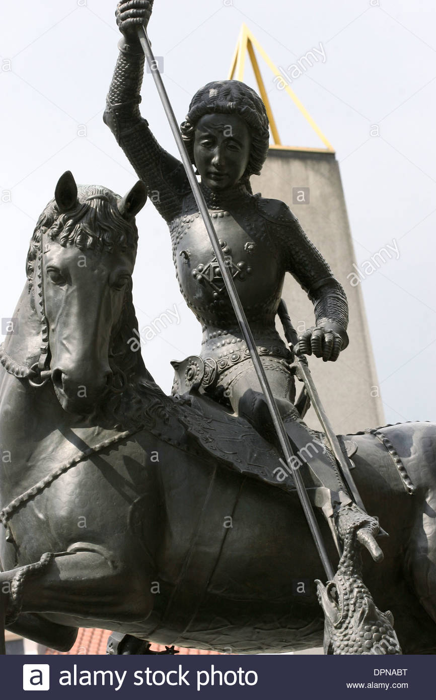 St.George killing a dragon. Detail. Gothic bronze statue. Cast by George Martin and Kluj in 1373. Prague Castle,Third Courtyard. - Stock Image