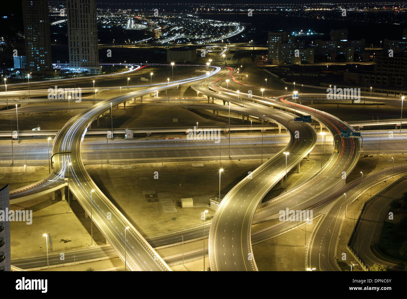 Highway intersection at night. Dubai, UAE - Stock Image