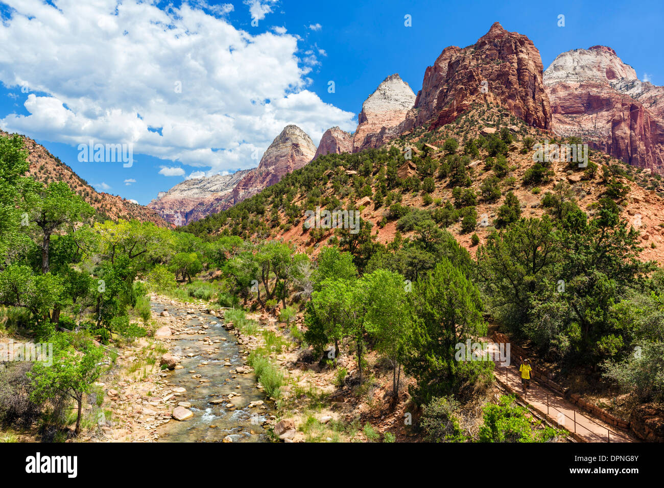 Virgin River viewed from bridge on Zion-Mount Carmel Highway (SR 9) with Par'us trail to right, Zion National Park, Utah, USA - Stock Image