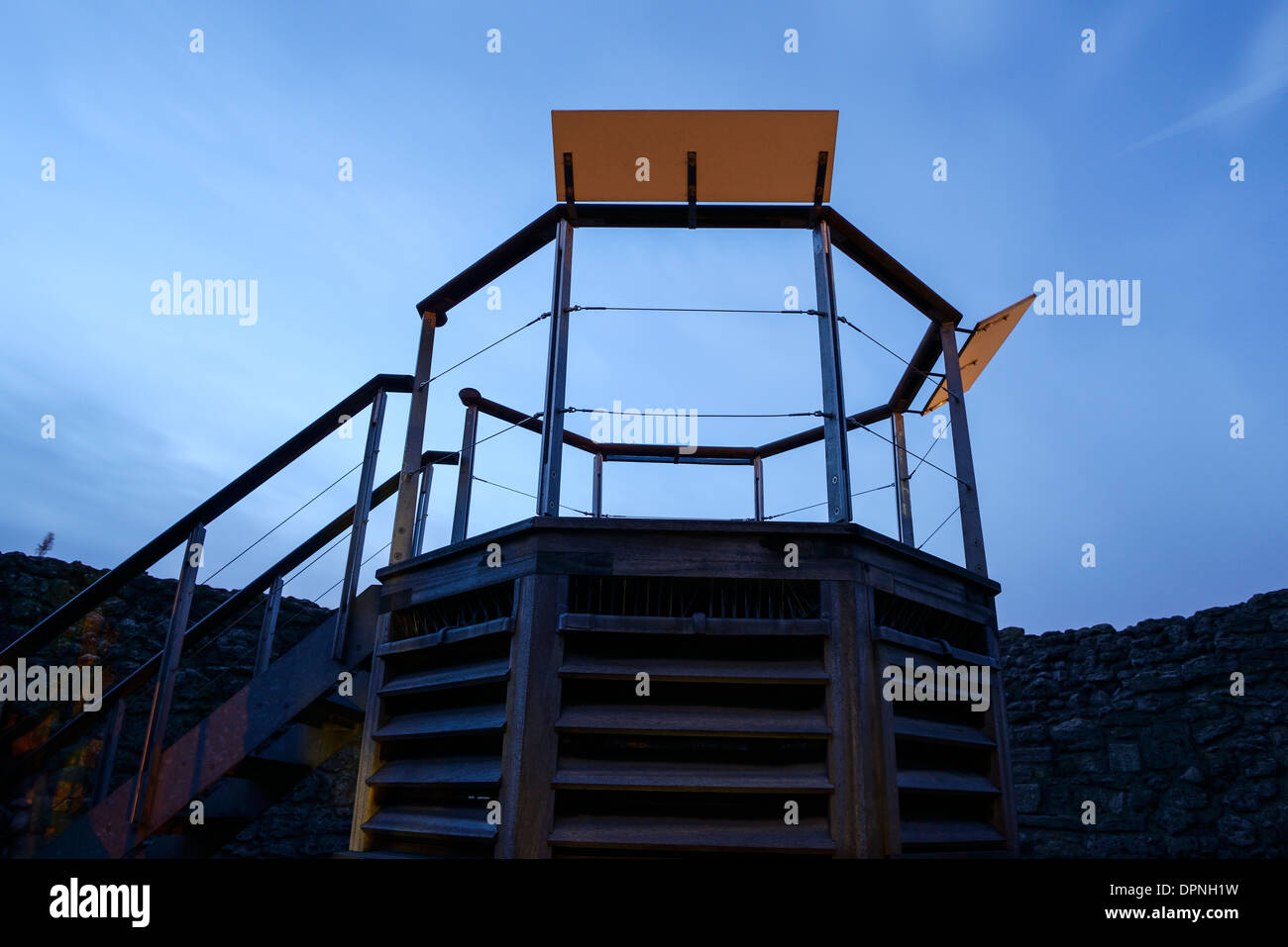 The viewing deck at the top of the tower at Oxford castle - Stock Image