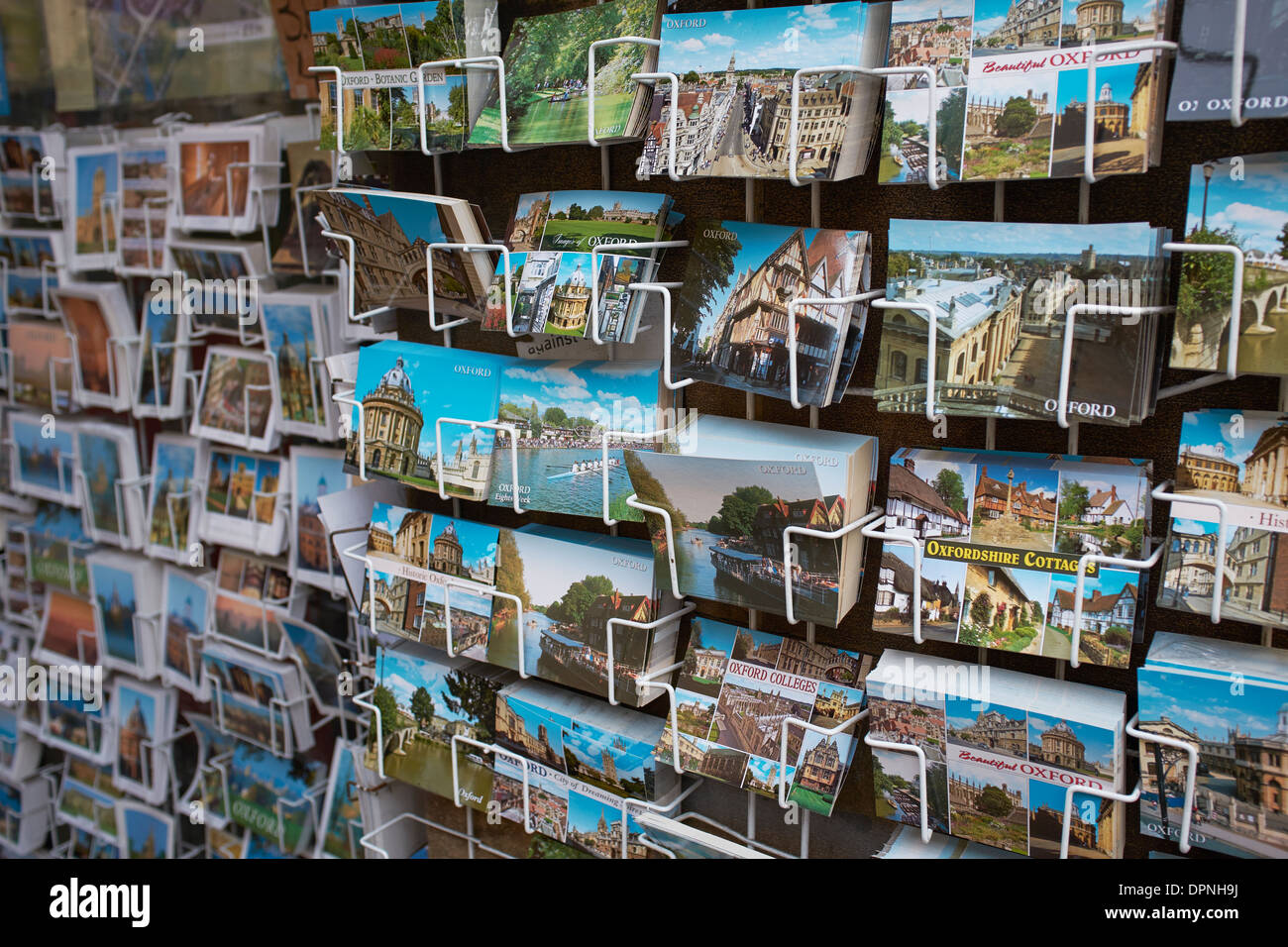 Tourist postcards on display in Oxford city centre UK - Stock Image