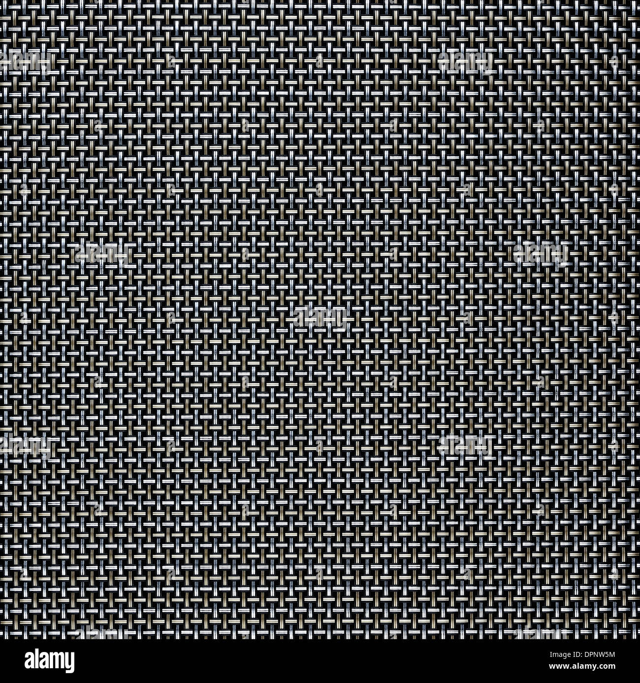 Gold and silver wire grid background - Stock Image