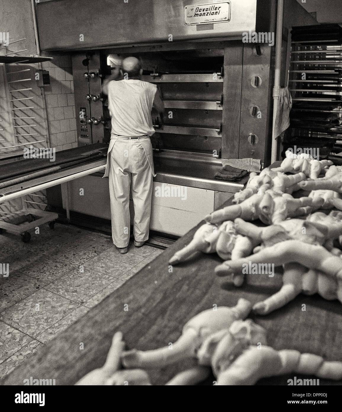 Coppia Ferrarese being made in Ferrara bakery - Stock Image