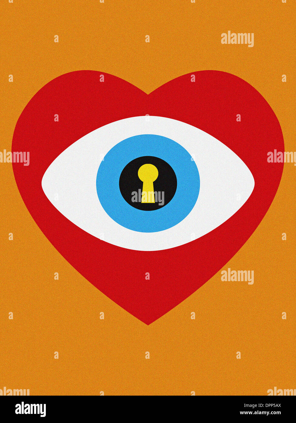 A heart with an eyeball that has a keyhole in it - Stock Image