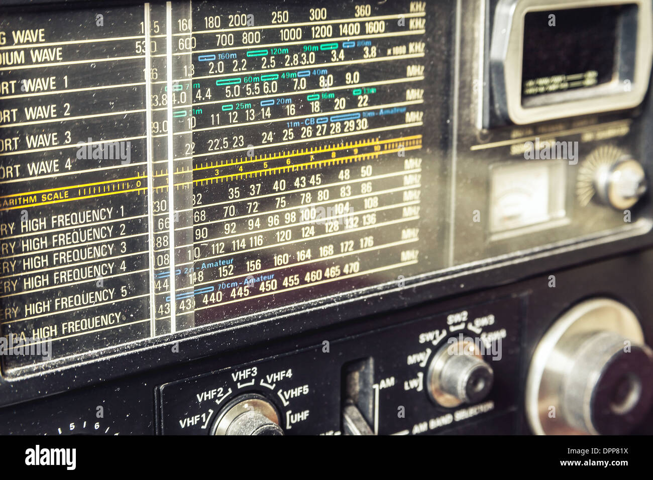 Details of an old am radio receiver. - Stock Image
