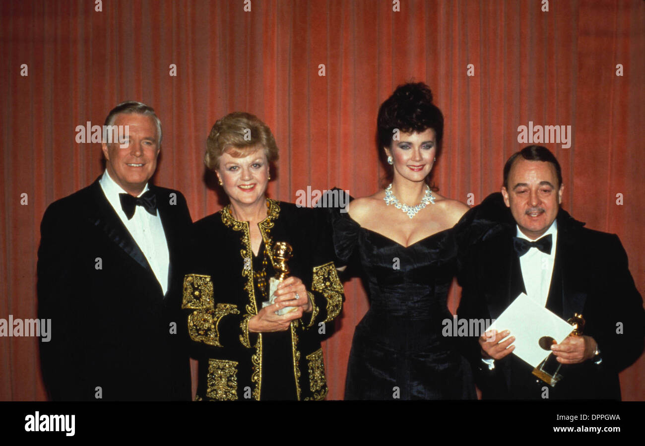 Sept. 25, 2006 - ANGELA LANSBURY WITH GEORGE PEPPARD , LYNDA CARTER AND JOHN HILLERMAN 1985.F0432.SUPPLIED BY (Credit Image: © Globe Photos/ZUMAPRESS.com) - Stock Image