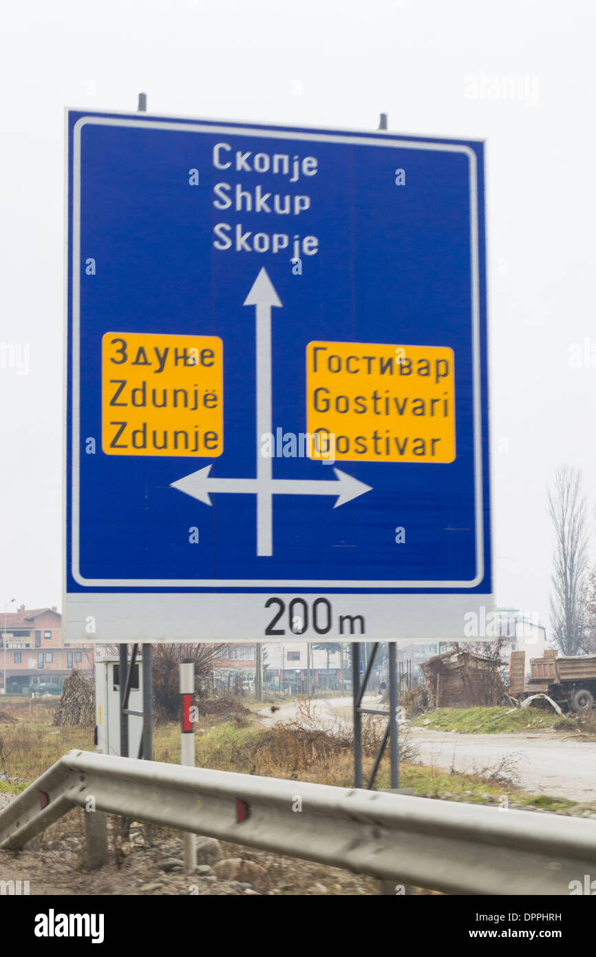 Road sign with indications to Skopje, Gostivar and Zdunje, Macedonia / FYROM - Stock Image