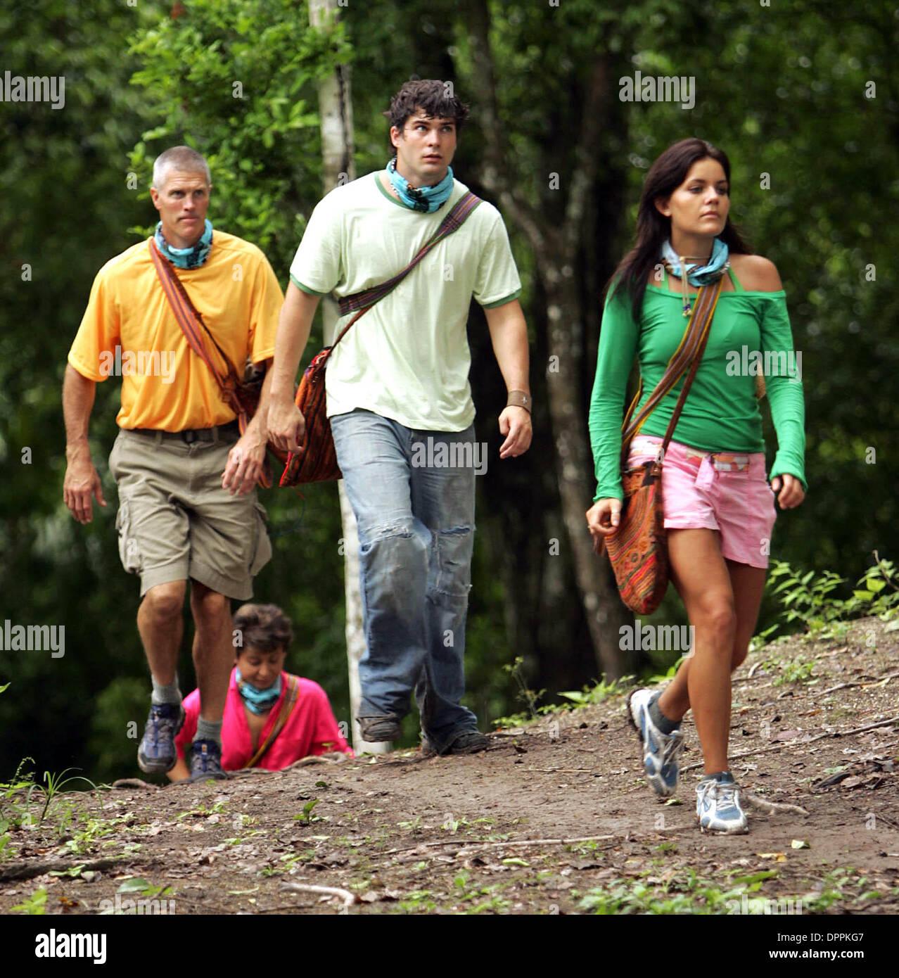 May 4, 2006 - Flores, GUATEMALA - K47725LL.caption: Castaways Gary Hogeboom, Lydia Morales, Jamie Newton and Brian - Stock Image