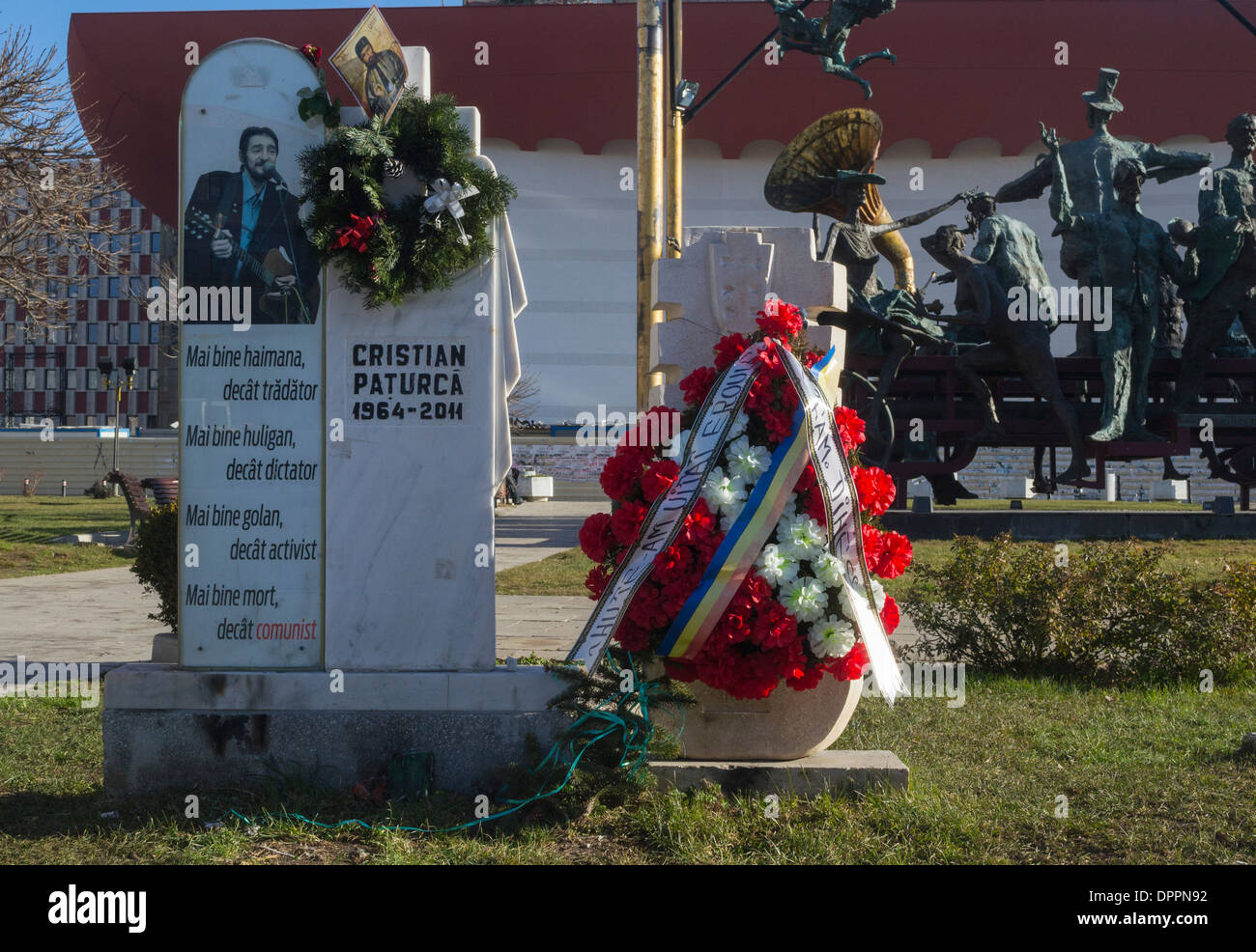 Cristian Paturca tombstone, the creator of The Hooligans' Hymn - Stock Image