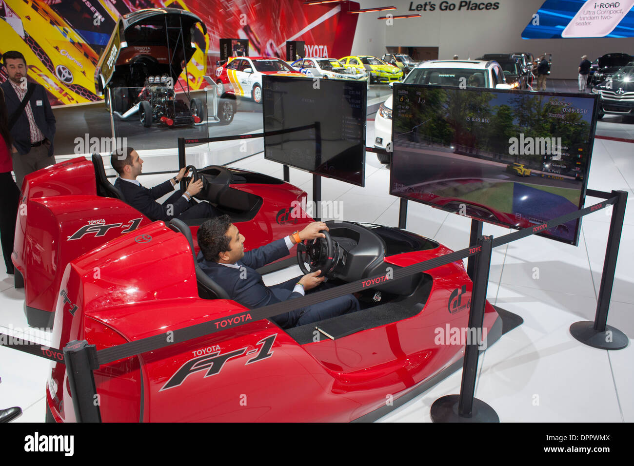 Detroit, Michigan - Driving simulators styled like the Toyota FT-1 at the North American International Auto Show. - Stock Image