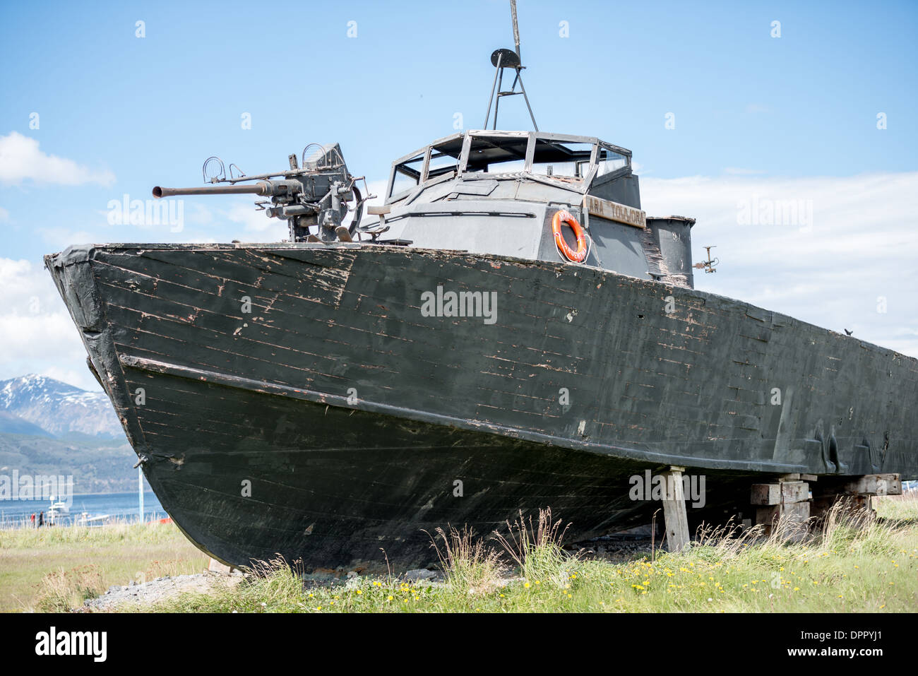 A PT boat, formerly of the Argentinian Navy, the Ara Towwora, sits on Stock Photo: 65658153 - Alamy