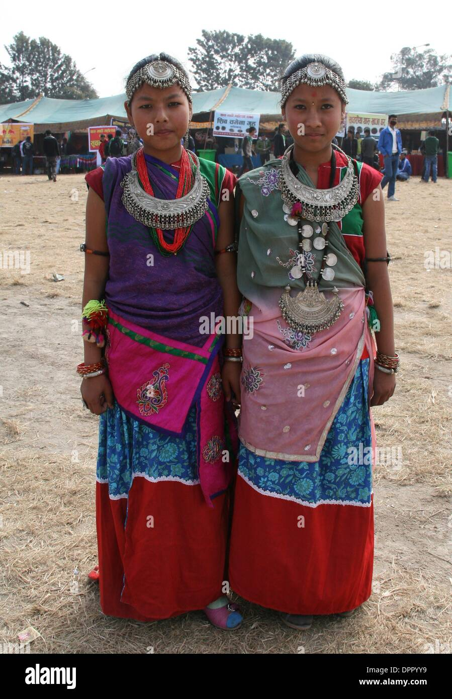 """Kathmandu, Nepal. 15th January 2014. Nepalese Tharu women in traditional clothes join in celebration of the """"Maghi Stock Photo"""