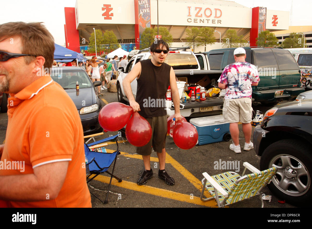 Apr 28, 2009 - E. Rutherford, New Jersey, USA - Fans and the scene at the village, the red balloons contain C02 Stock Photo
