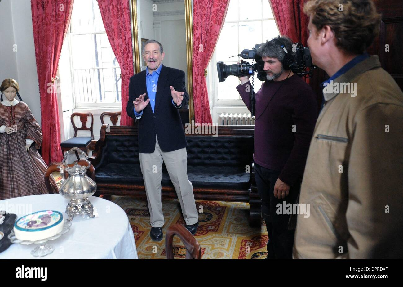 Dec 04, 2008 - Manhattan, New York, USA - CHARLES LOCKWOOD works out a scene as host KEVIN O'CONNOR (R) looks on. 'This Old House' taping with host Kevin O'Connor  and special guest Charles Lockwood at the historic Merchant's House Museum in the East Village.  (Credit Image: © Bryan Smith/ZUMA Press) RESTRICTIONS:  * New York City Newspapers Rights OUT * - Stock Image