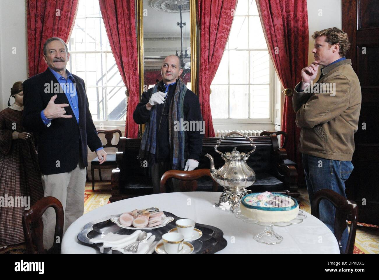 Dec 04, 2008 - Manhattan, New York, USA - CHARLES LOCKWOOD (L), director DAVID VOS (C) and host KEVIN O'CONNOR work out a scene. 'This Old House' taping with host Kevin O'Connor  and special guest Charles Lockwood at the historic Merchant's House Museum in the East Village.  (Credit Image: © Bryan Smith/ZUMA Press) RESTRICTIONS:  * New York City Newspapers Rights OUT * - Stock Image