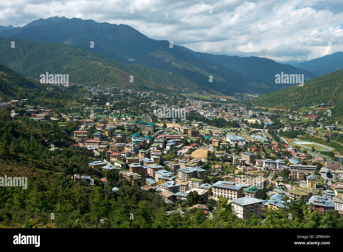 View at the capital Thimphu, Bhutan - Stock Image