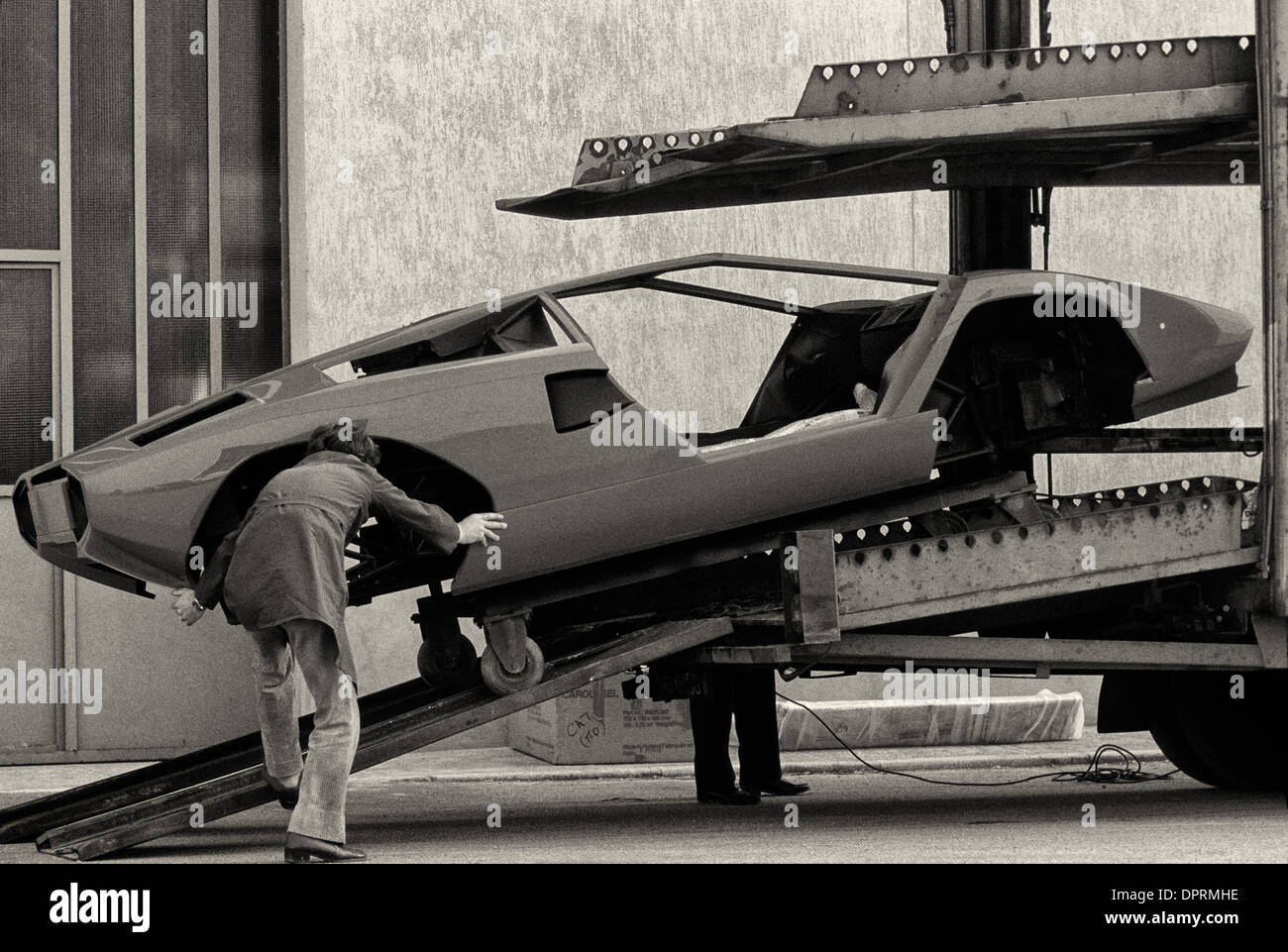 Lamborghini factory at Sant' Agata in Emilia Romagna with Countach LP500 body - Stock Image