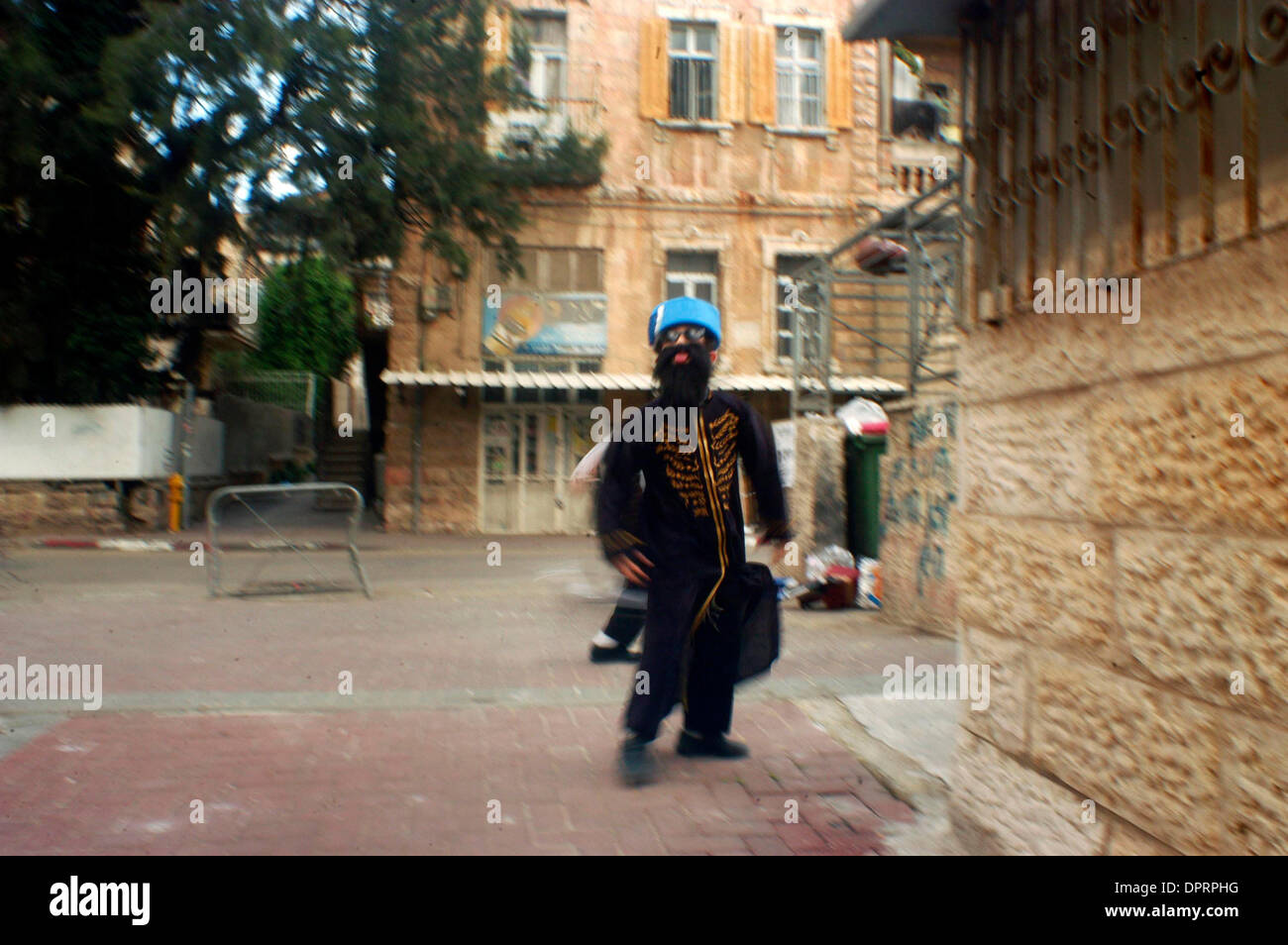 Dec 31, 2008 - Jerusalem, Israel - Celebrating the Jewish holiday Purim in Mea Shearim Neighborhood, Jerusalem, Israel on Wednesday March 15 2006. (Credit Image: © Rafael Ben-Ari/Chameleons Eye/ZUMA Press) - Stock Image