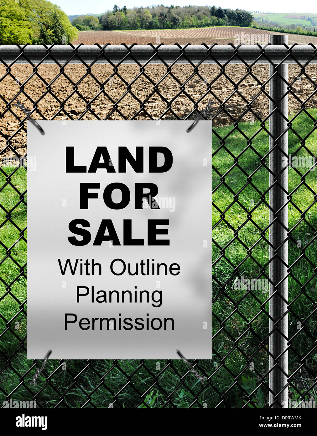 Wire Fence For Sale | Land For Sale By With Outline Planning Permission Sign Fixed On Wire