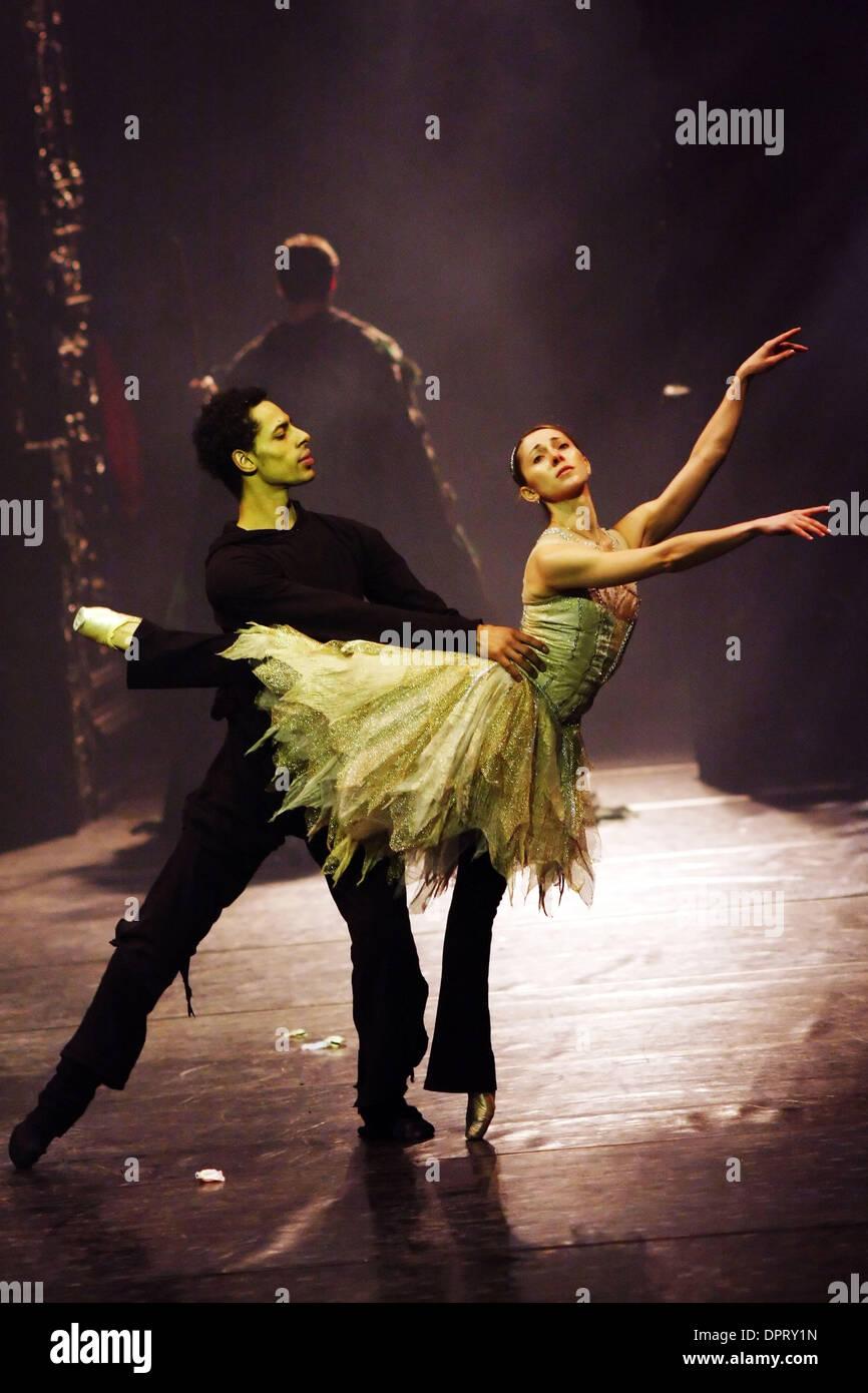 Jan 21, 2009 - Shanghai, China - Members of the Birmingham Royal Ballet rehearse for a performance of 'Beauty and the Beast' at the Shanghai Grand Theatre, Shanghai, China. (Credit Image: © Jeremy Breningstall/ZUMA Press) - Stock Image