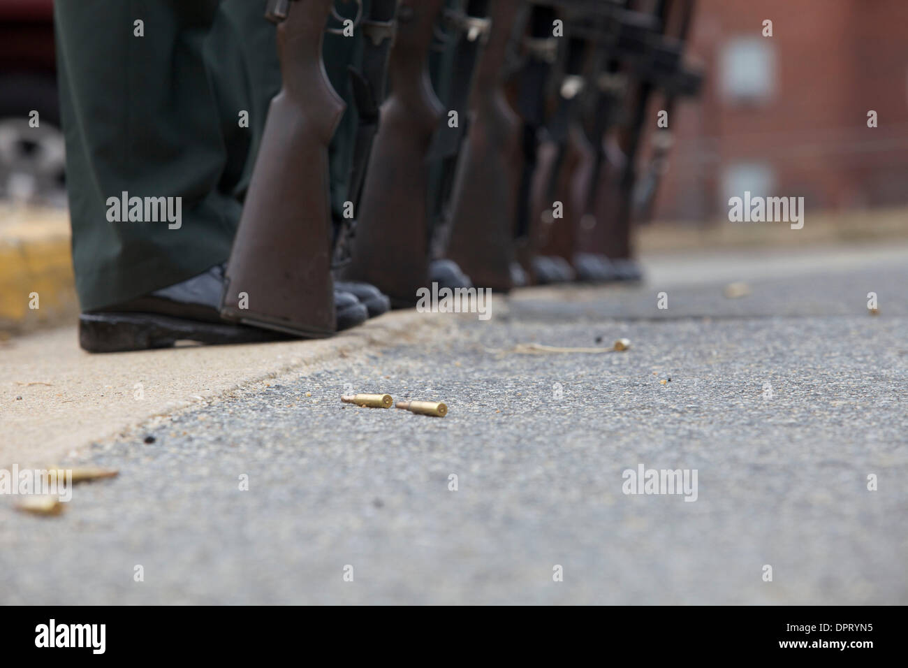 Feb. 26, 2009 - Joint Base Myer-Henderson Hall, Virginia, U.S. - Empty blanks lay on the ground during a practice session for the firing party. .(Credit Image: © Kate Karwan Burgess/ZUMAPRESS.com) - Stock Image