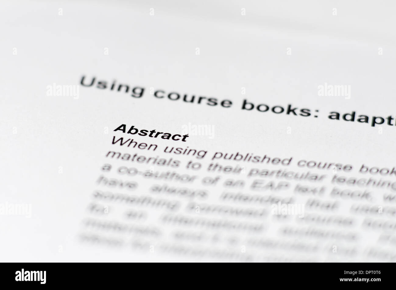 Abstract of an academic paper - Stock Image