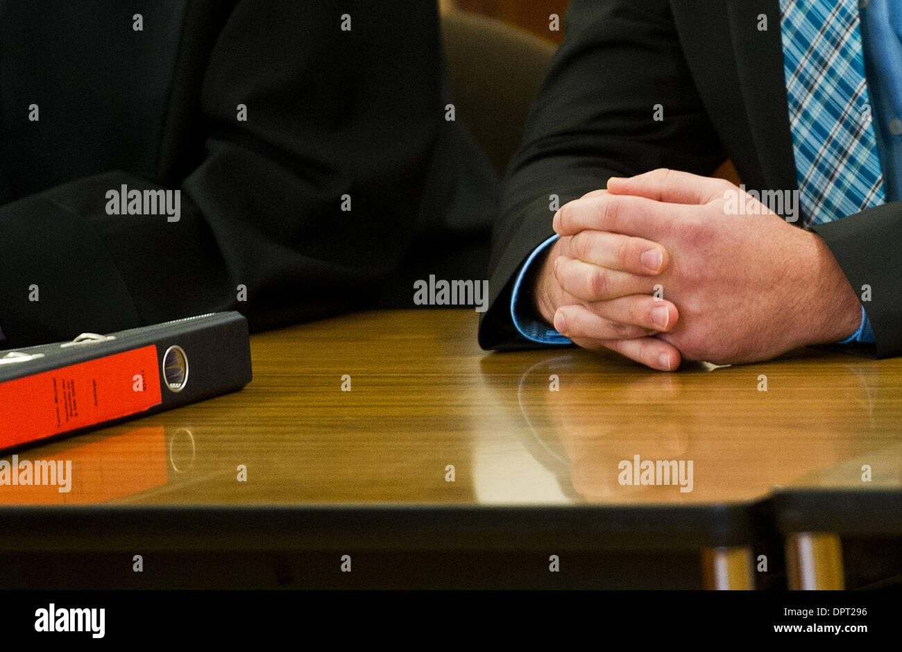 Braunschweig, Germany. 16th Jan, 2014. Defendant Jan Michael T. sits in the courtroom of the Regional Court in Braunschweig, Stock Photo