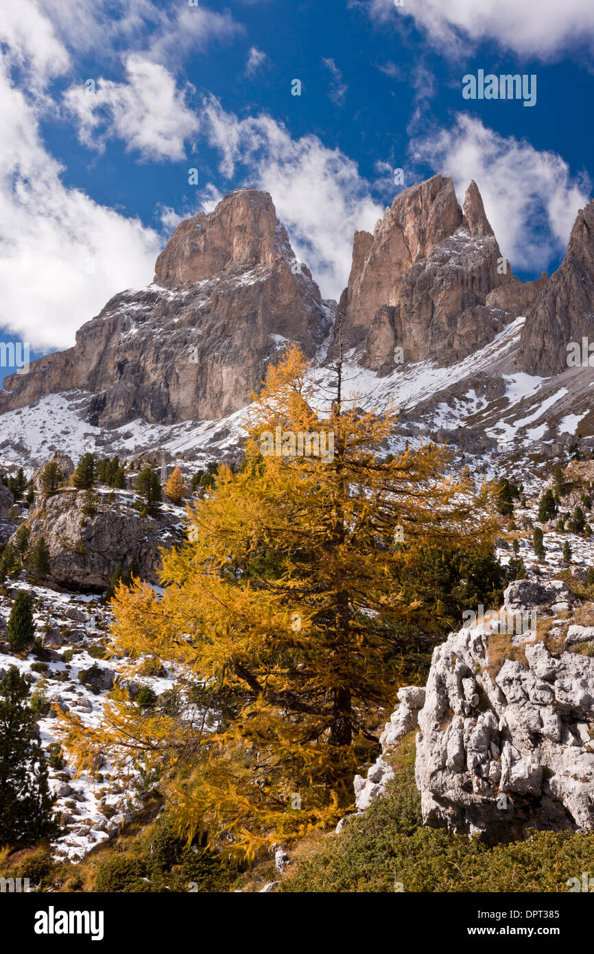 View up towards the Sassolungo group of mountains from the Sella Pass, across the 'stone city' in autumn; Dolomites, Stock Photo