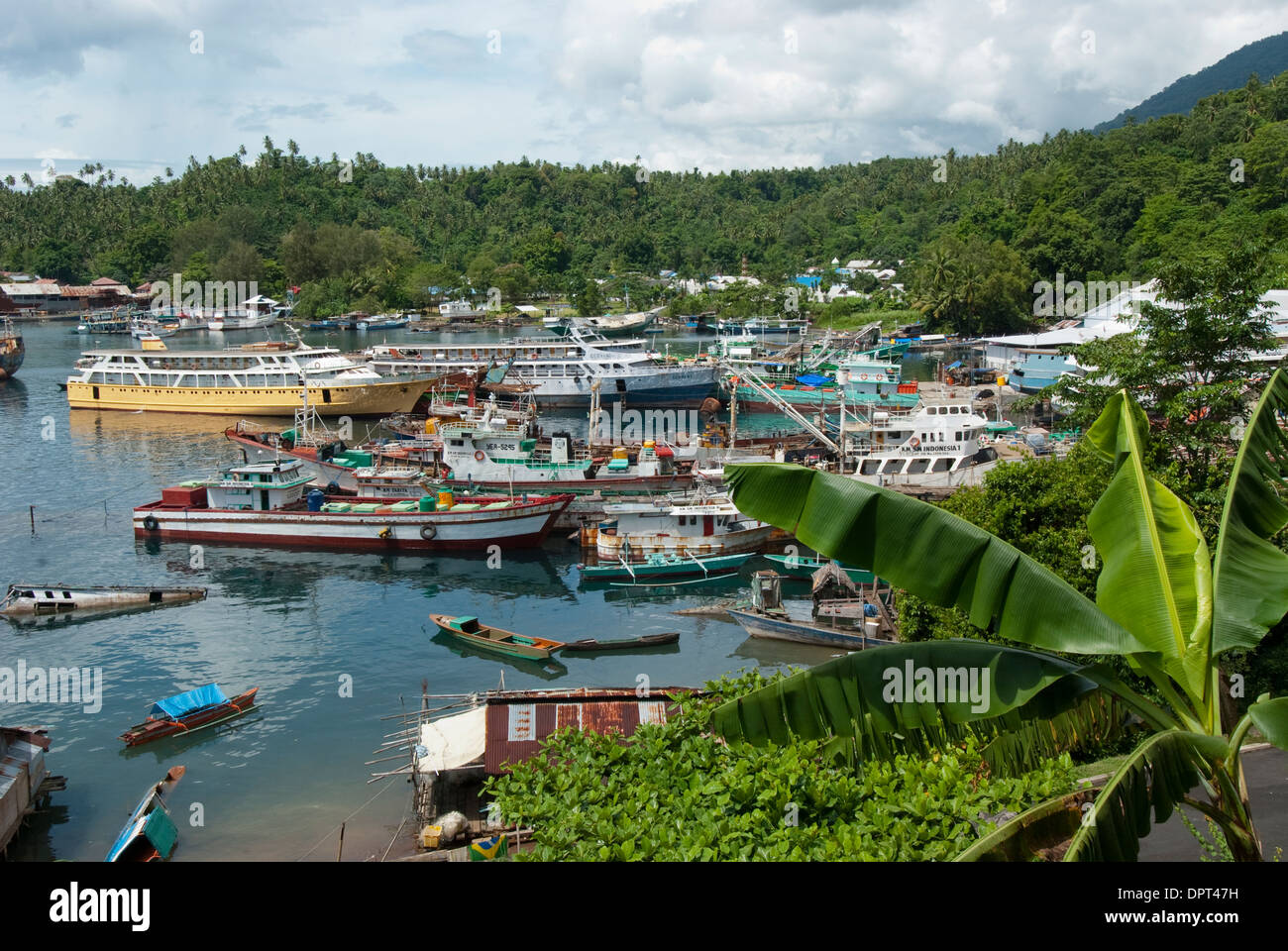 Busy port, Lembeh Strait, North Sulewesi, Indonesia. - Stock Image