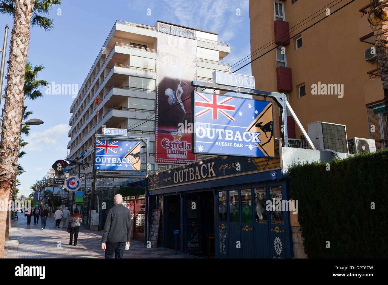 Benidorm, Costa Blanca, Spain. Outback Australian Aussie Bar and Hotel Presidente - Stock Image