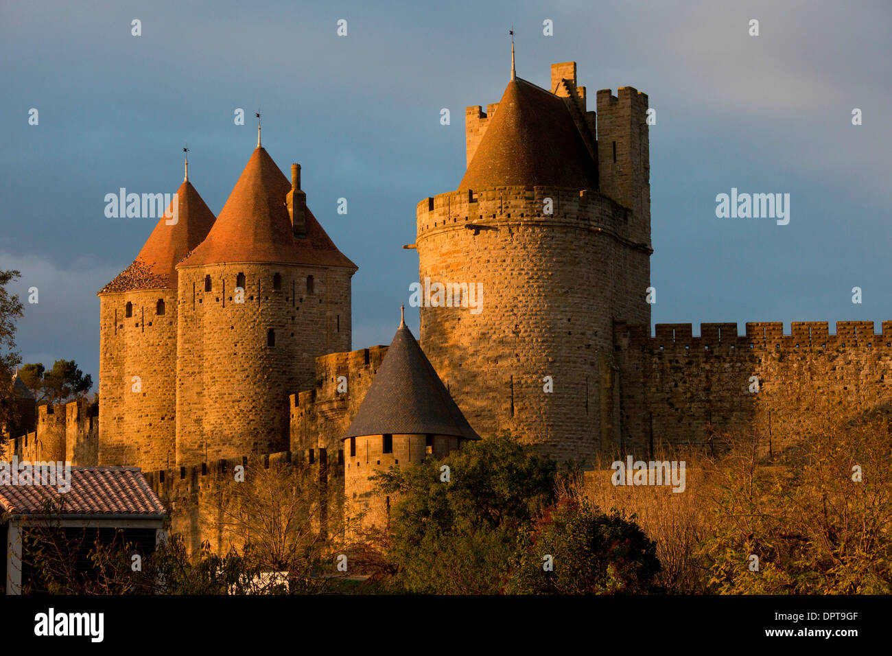 The medieval fortifications of the ancient citadel of Carcassonne, south-west France, early morning - Stock Image