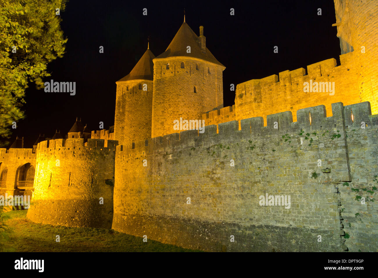 The medieval fortifications of the ancient citadel of Carcassonne, south-west France - Stock Image