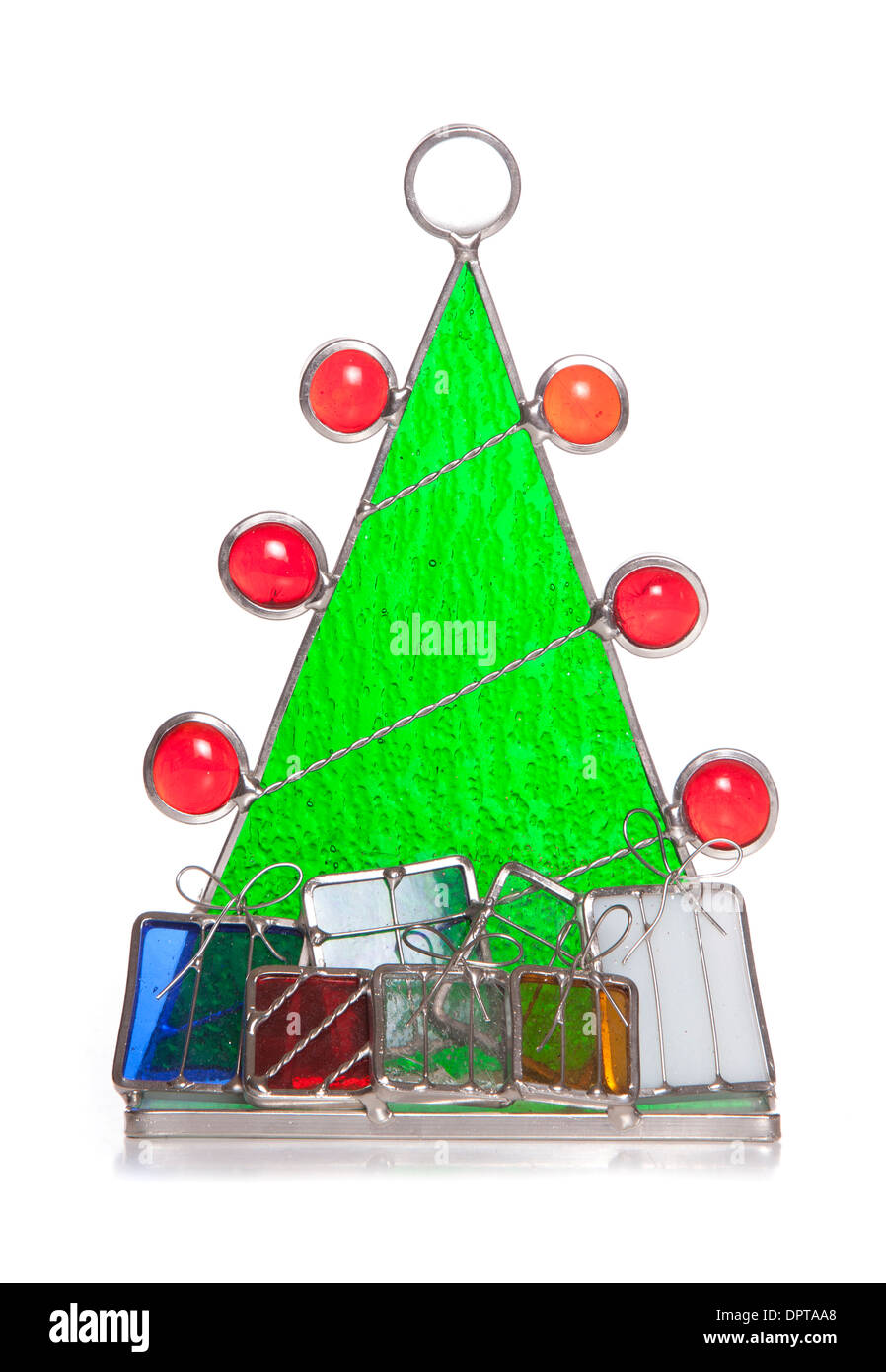 Christmas Tree Stained Glass Ornament Cutout Stock Photo 65688512