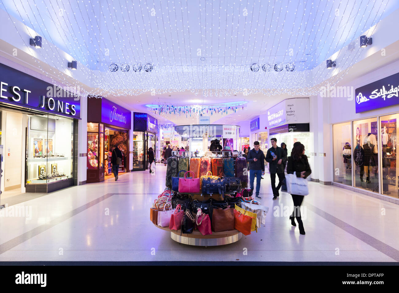 Shopping centre with christmas lights. - Stock Image