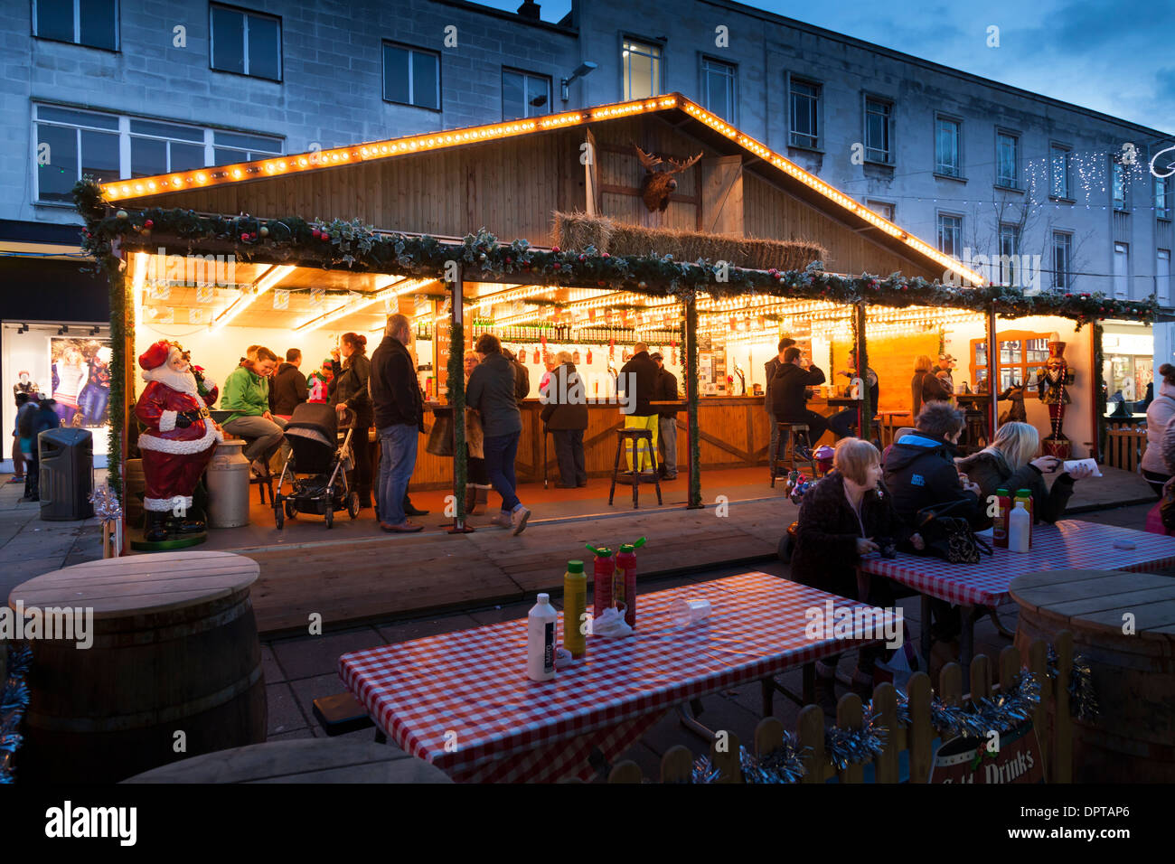 Beer chalet in traditional christmas street market. - Stock Image
