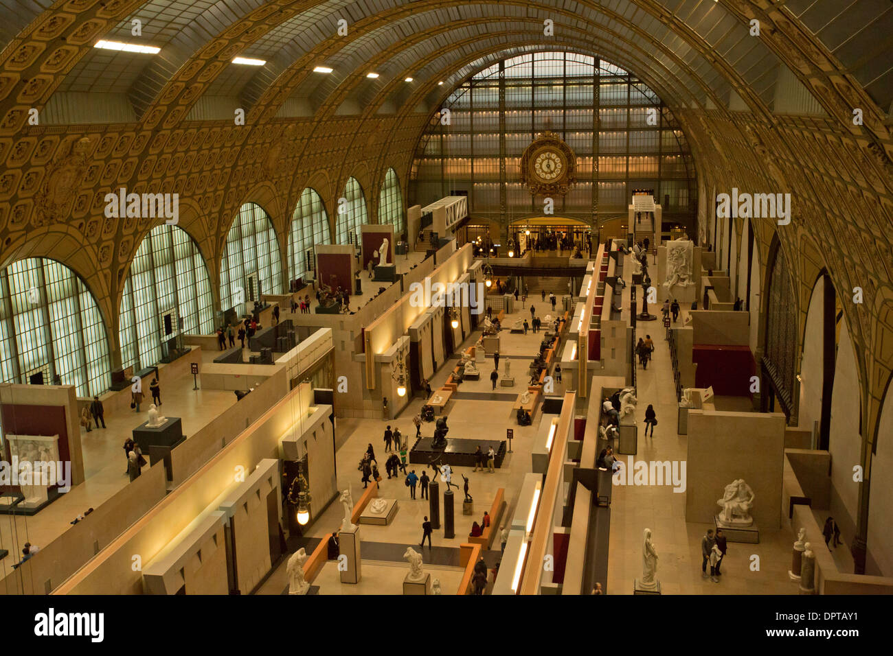 Inside the Musee d'orsay, Orsay Museum, built inside an old railway station, Paris, France. - Stock Image