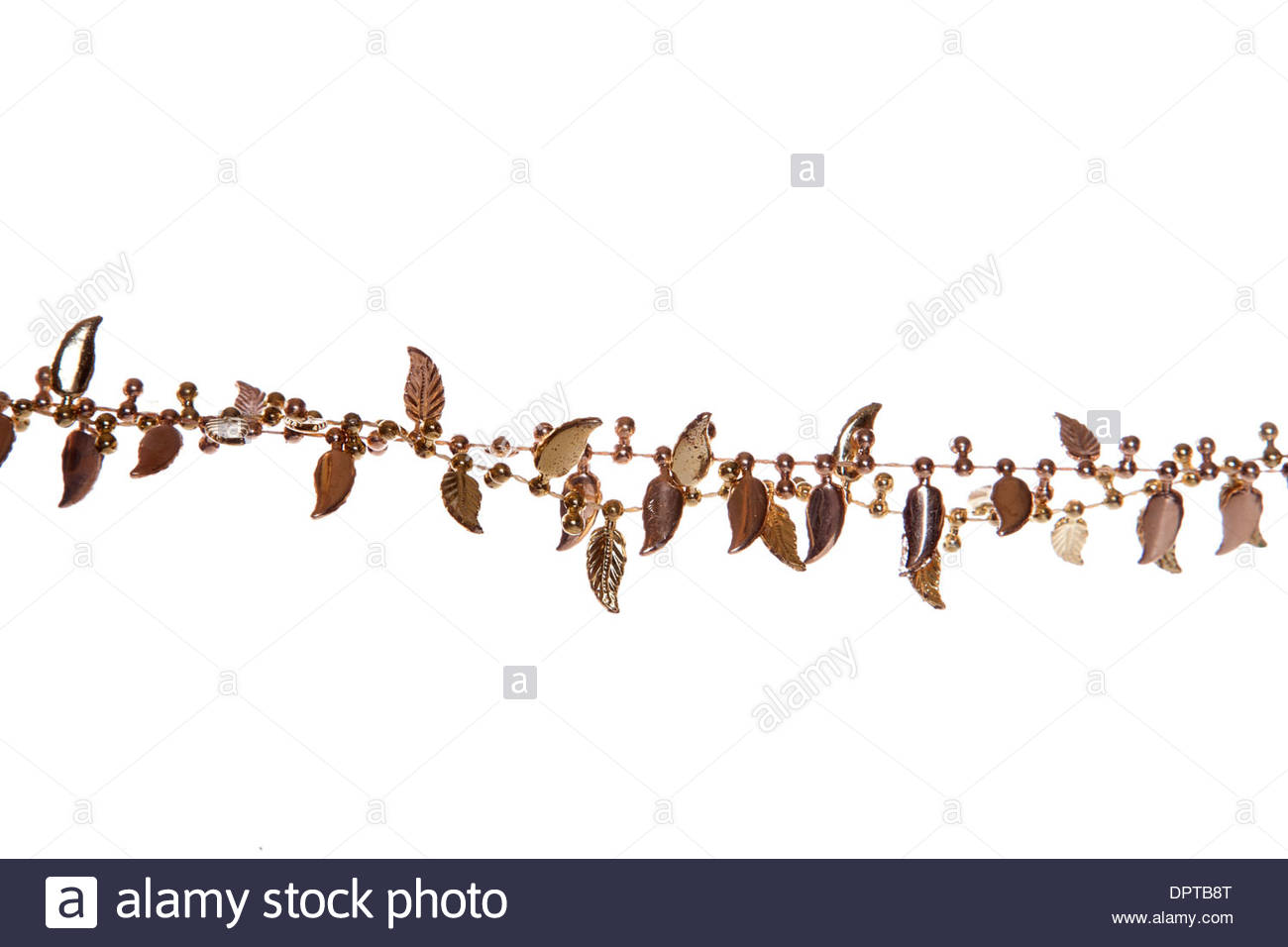 gold christmas garland border cutout stock image