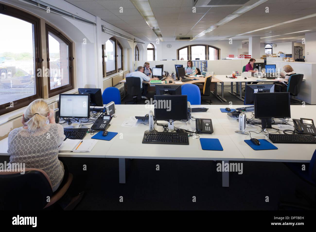 Open plan office interior. - Stock Image