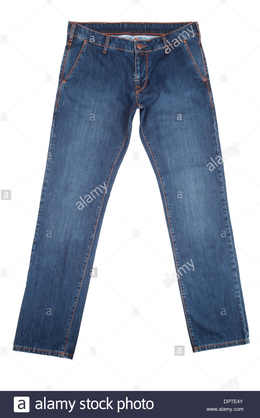 denim jeans isolated on white - Stock Image