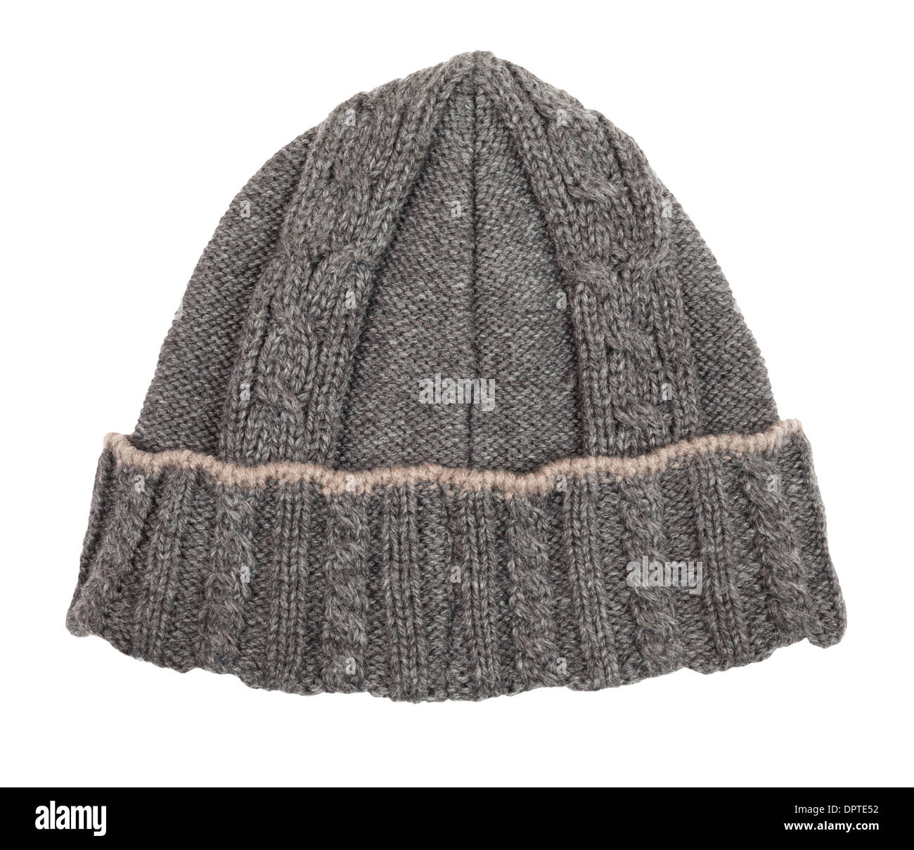 hat beanie wool isolated on white - Stock Image